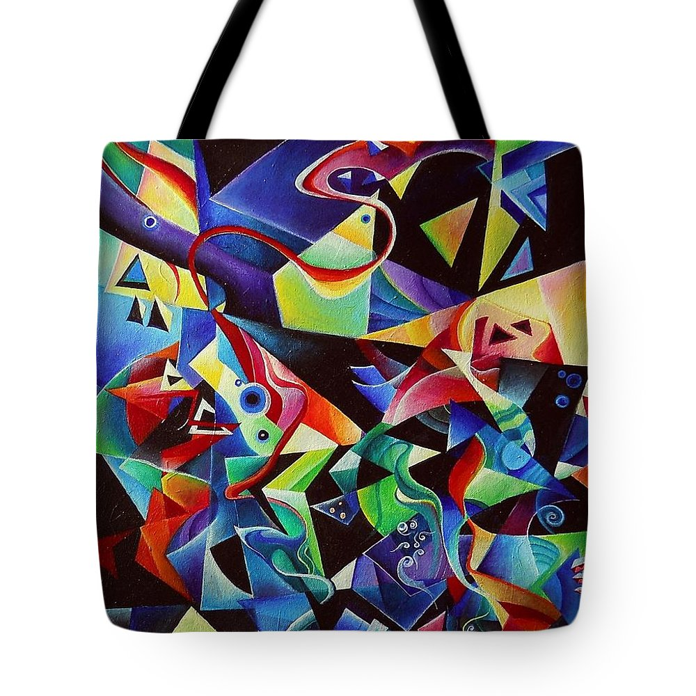 Arnold Schoenberg Piano Concert No.1 Acrylic Abstract Pens Music Tote Bag featuring the painting listening to piano concert op.42 of Arnold Schoenberg by Wolfgang Schweizer