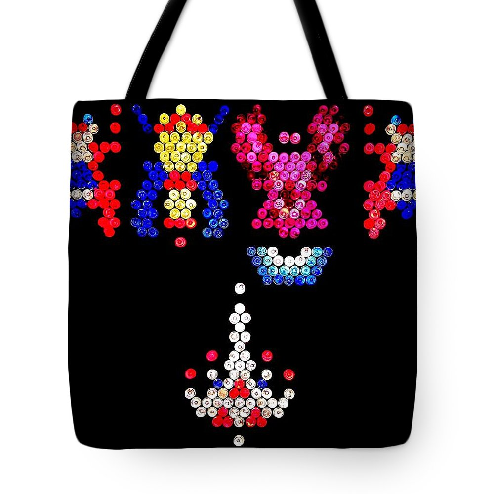 Galaga Tote Bag featuring the photograph Lite Brite - Galaga by Benjamin Yeager