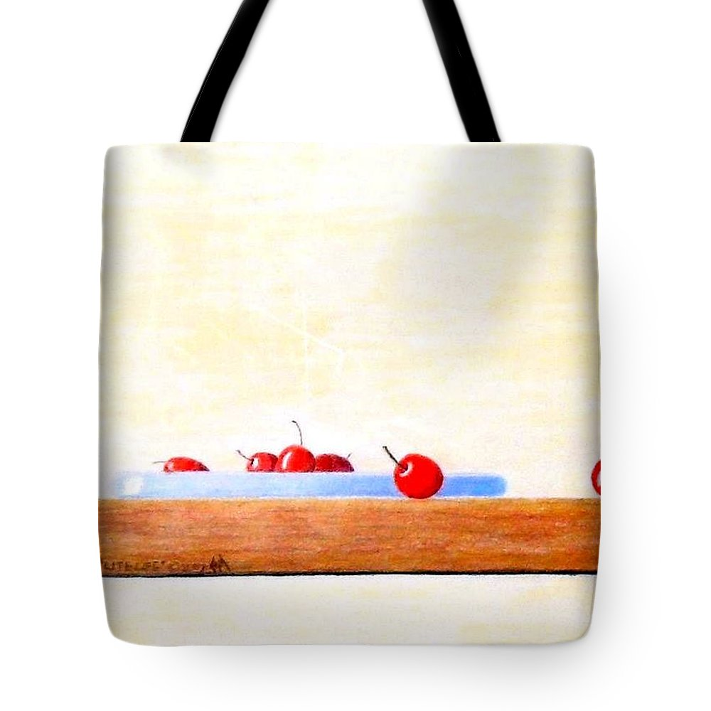 Cherries Tote Bag featuring the painting Lite Life by A Robert Malcom