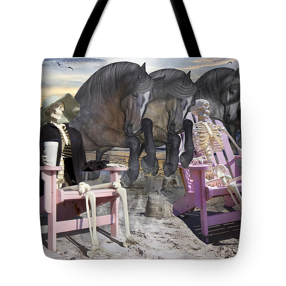 Horse Tote Bag featuring the mixed media Structural Support Systems by Betsy Knapp