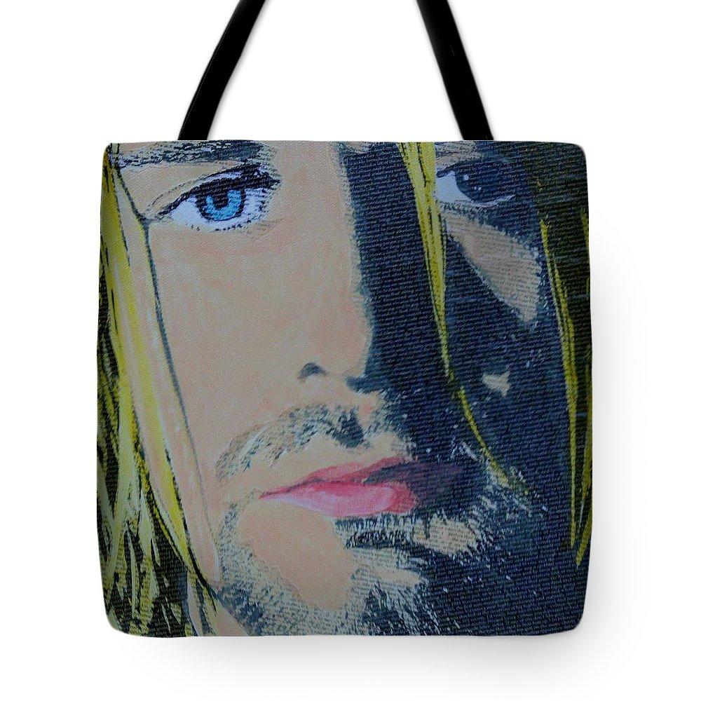 Kurt Cobain Tote Bag featuring the mixed media Literally Kurt Cobain by Gary Hogben