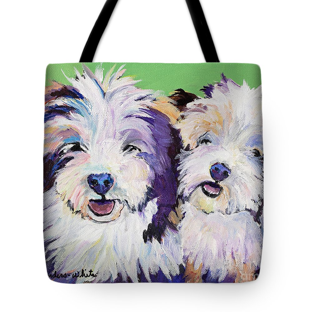 Pat Saunders-white Paintings Tote Bag featuring the painting Litter Mates by Pat Saunders-White
