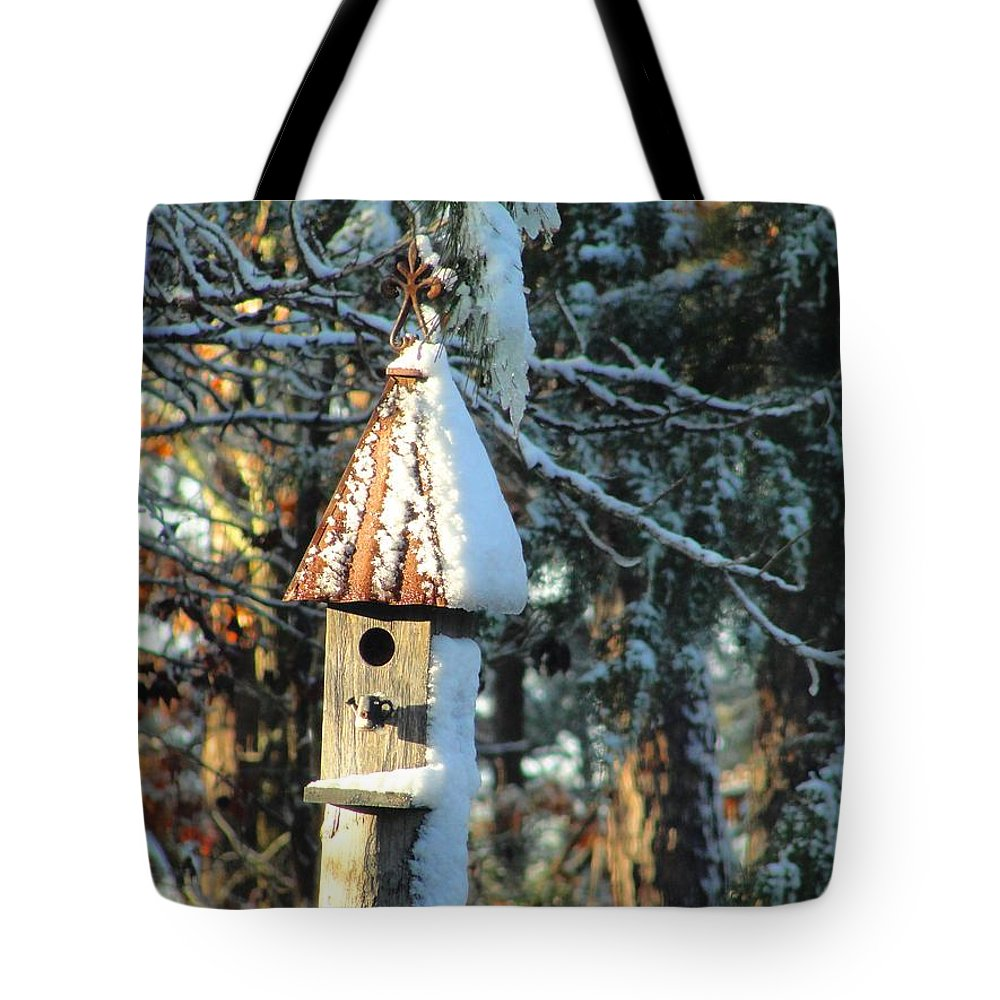 Winter Tote Bag featuring the photograph Little Birdhouse In The Woods by Charlie and Norma Brock