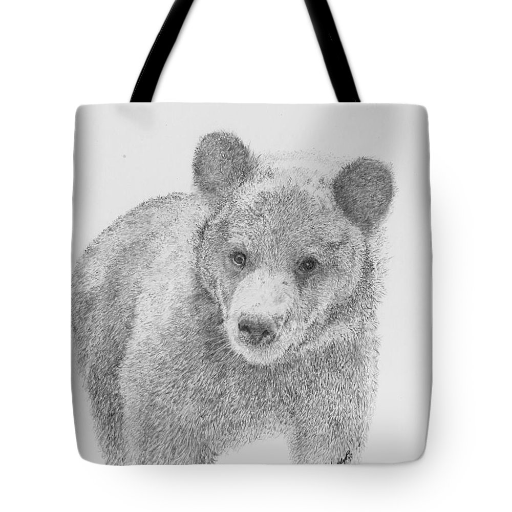 Cub Tote Bag featuring the drawing Little Boo by Wendy Brunell