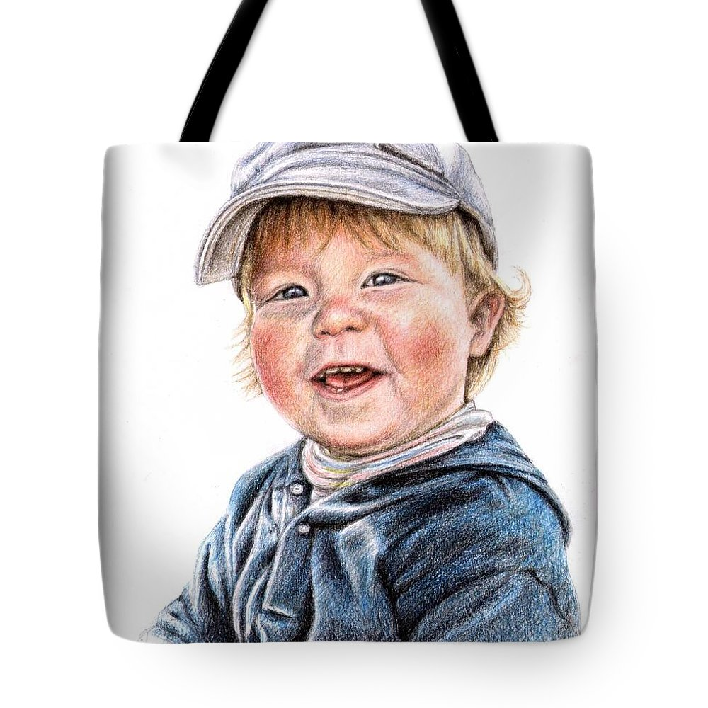 Boy Tote Bag featuring the drawing Little Boy by Nicole Zeug