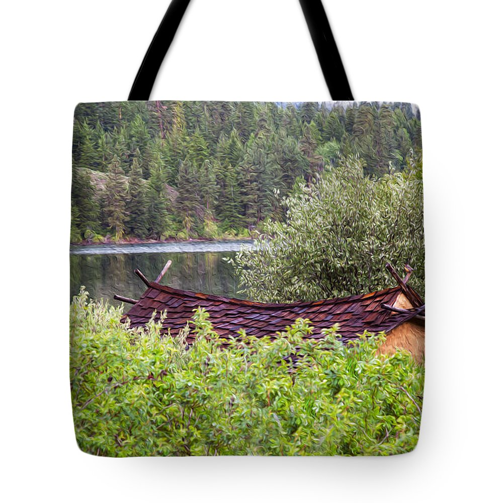 North Cascades Tote Bag featuring the painting Little Cabin On A Lake by Omaste Witkowski