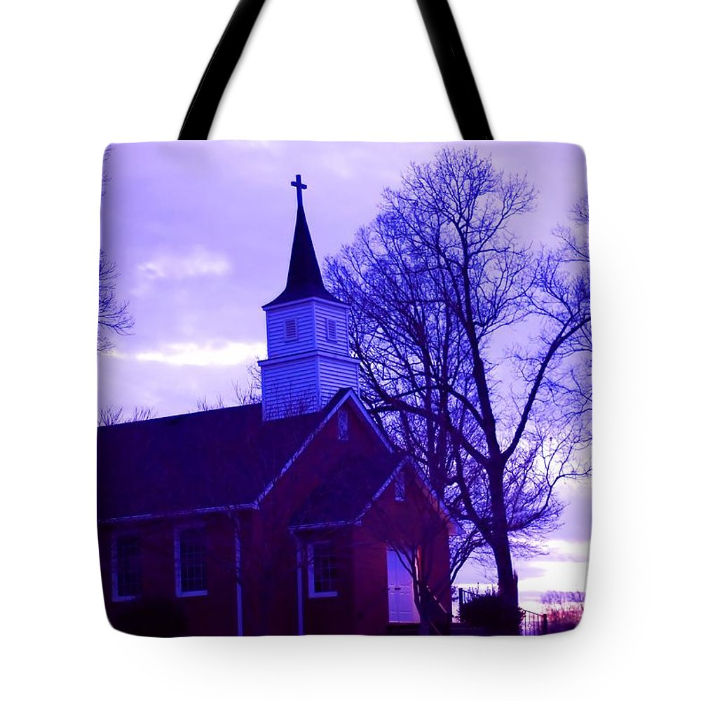 Landscape Tote Bag featuring the photograph Little Church At Night by Morgan Carter