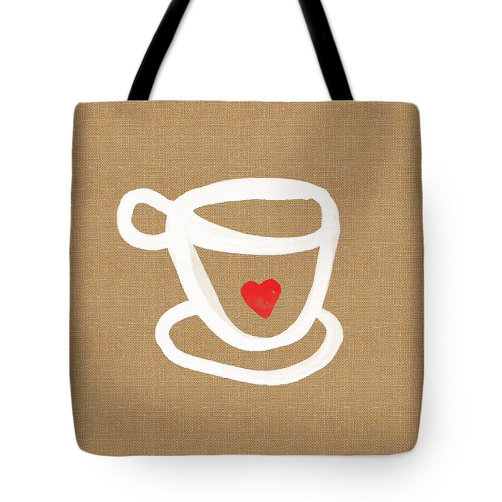 Teacup Tote Bag featuring the painting Little Cup Of Love by Linda Woods