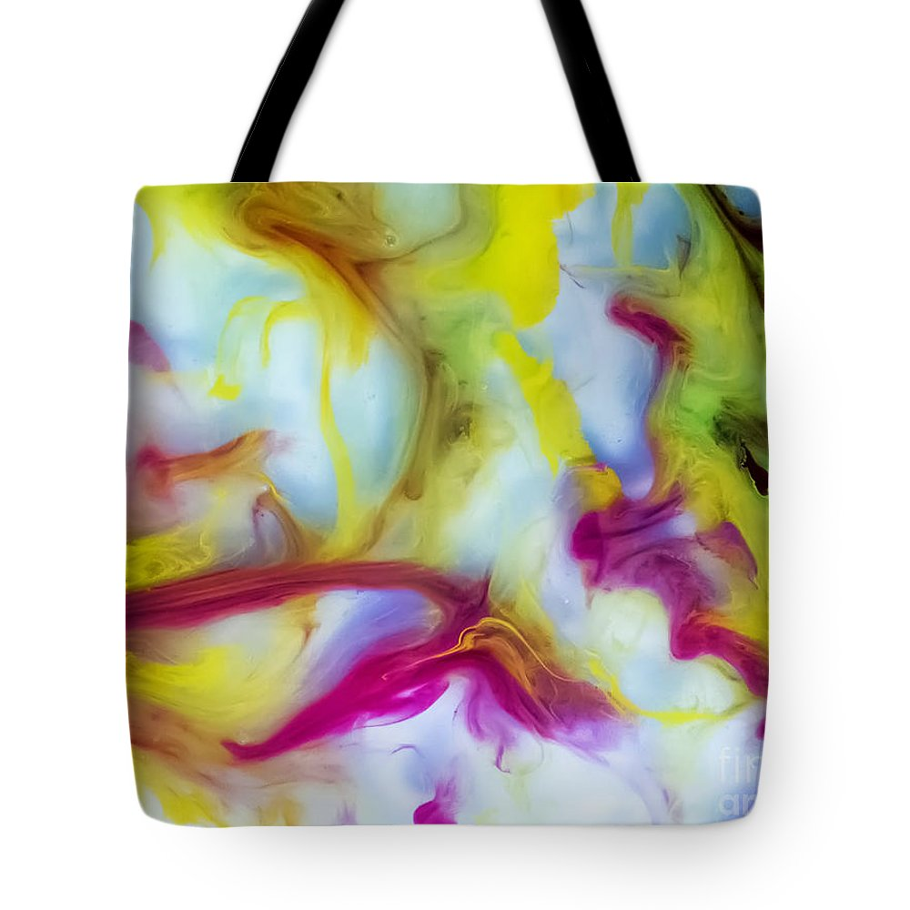 Watercolor Paintings Tote Bag featuring the painting Little Dragon Watercolor Abstract Painting by Justyna JBJart