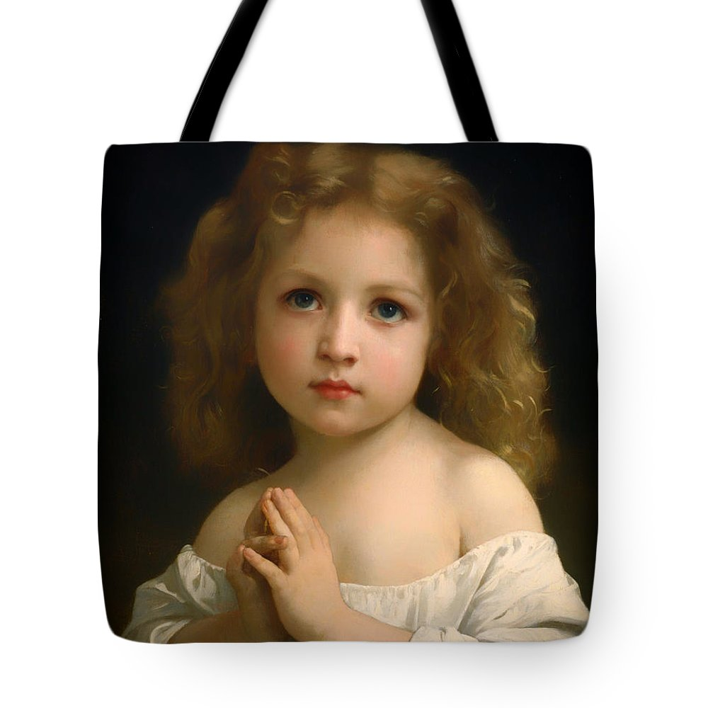 Painting Tote Bag featuring the painting Little Girl And Her Prayer by Mountain Dreams