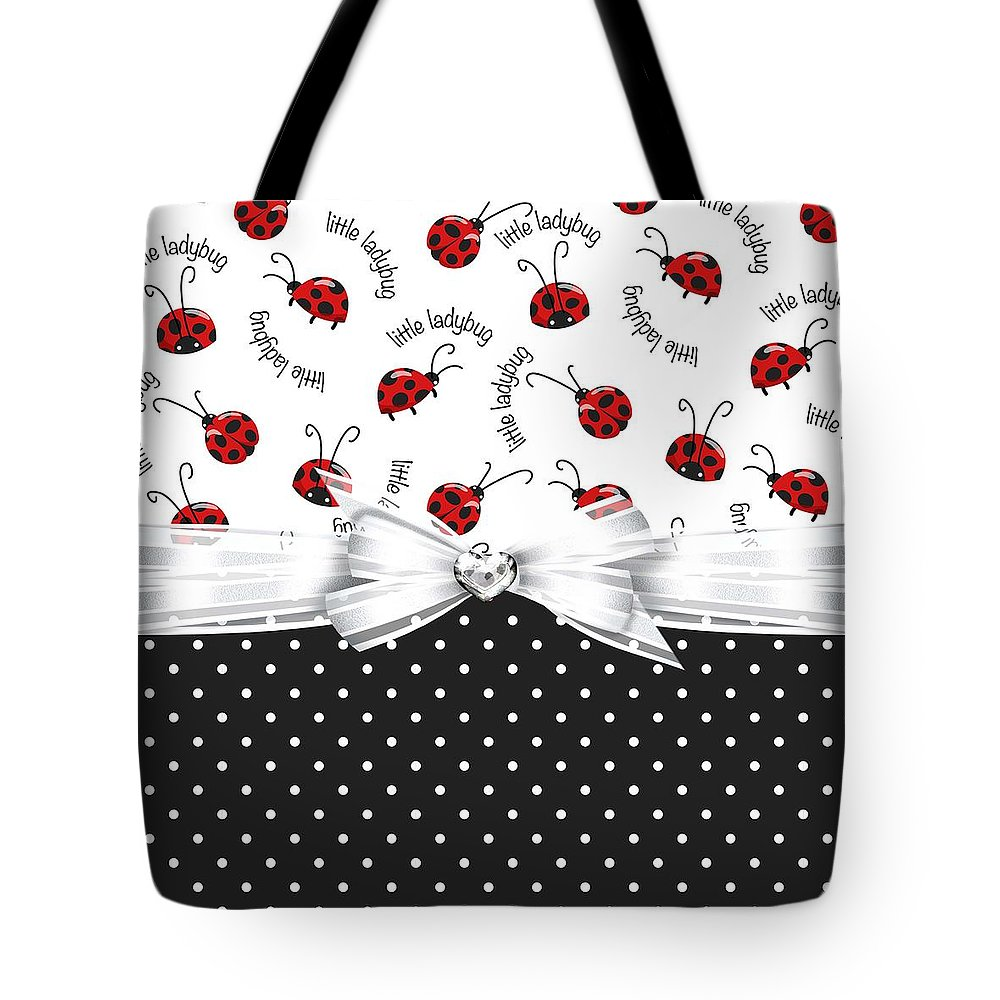 Polka Dots Tote Bag featuring the digital art Little Ladybugs by Debra Miller