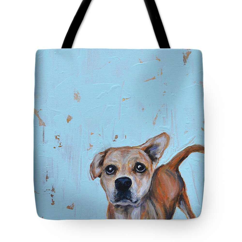 Shelter Tote Bag featuring the painting Little Man by Robin Wiesneth
