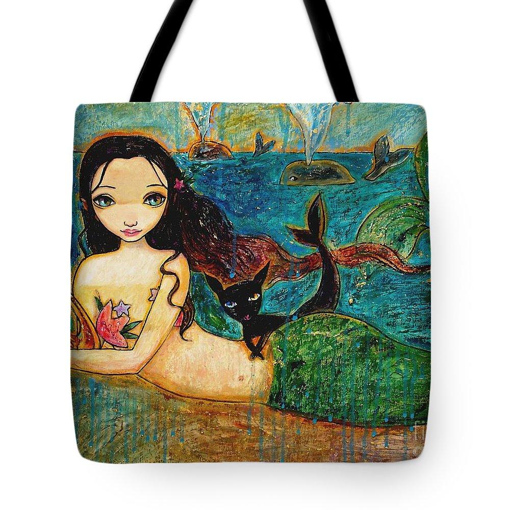 Mermaid Art Tote Bag featuring the painting Little Mermaid by Shijun Munns