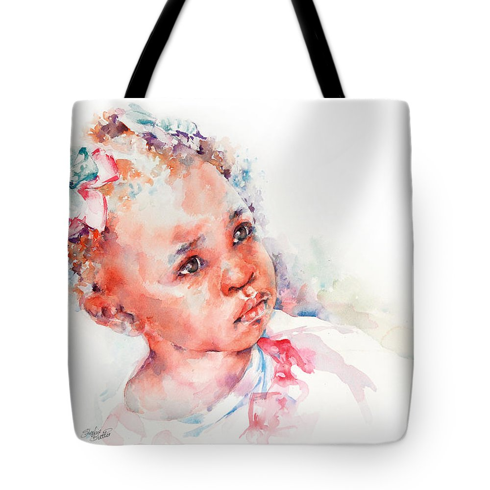 Africa Tote Bag featuring the painting Little Miss Africa by Stephie Butler