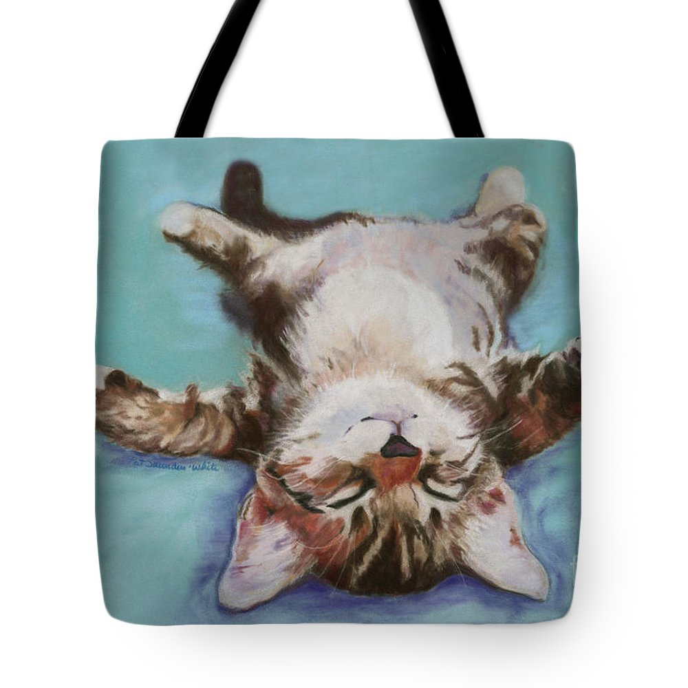 Cat Painting Tote Bag featuring the pastel Little Napper by Pat Saunders-White