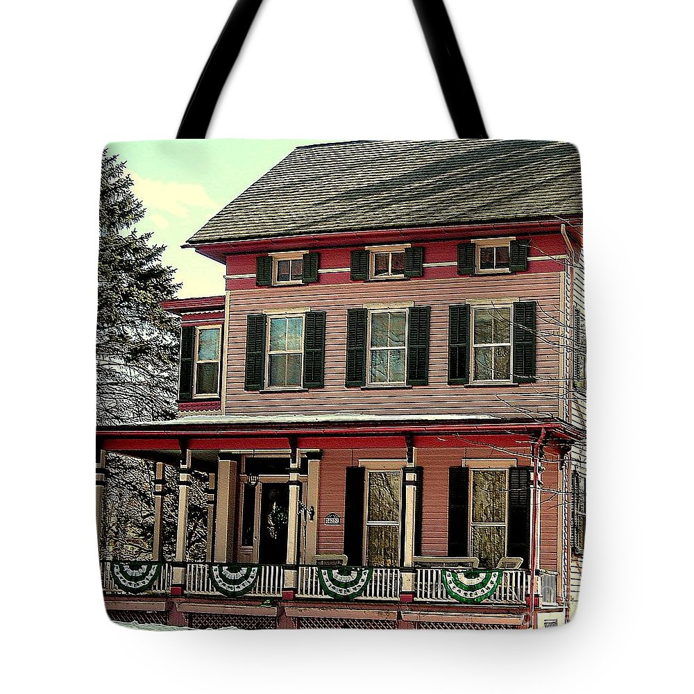 Pink Houses Tote Bag featuring the photograph Little Pink Houses by Tami Quigley