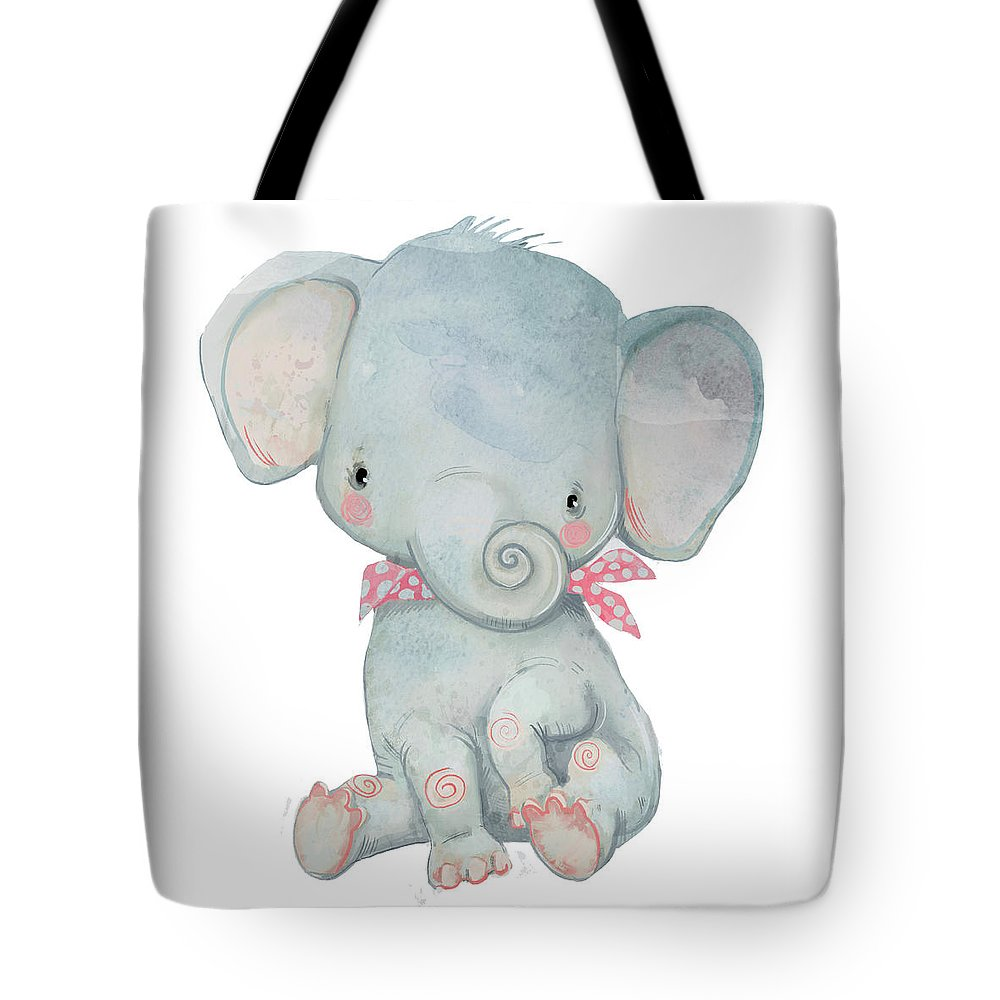 Watercolor Painting Tote Bag featuring the digital art Little Pocket Elephant by Cofeee