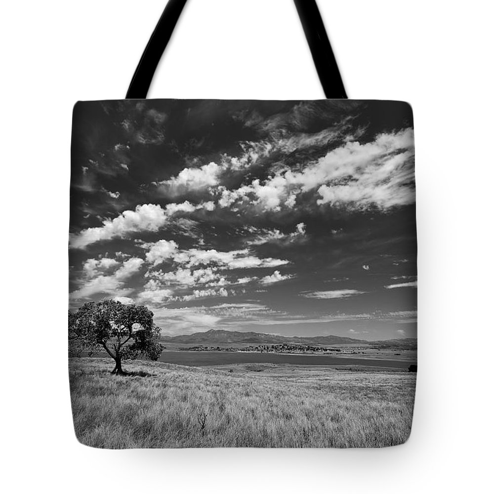 Big Sky Tote Bag featuring the photograph Little Prarie Big Sky - Black And White by Peter Tellone