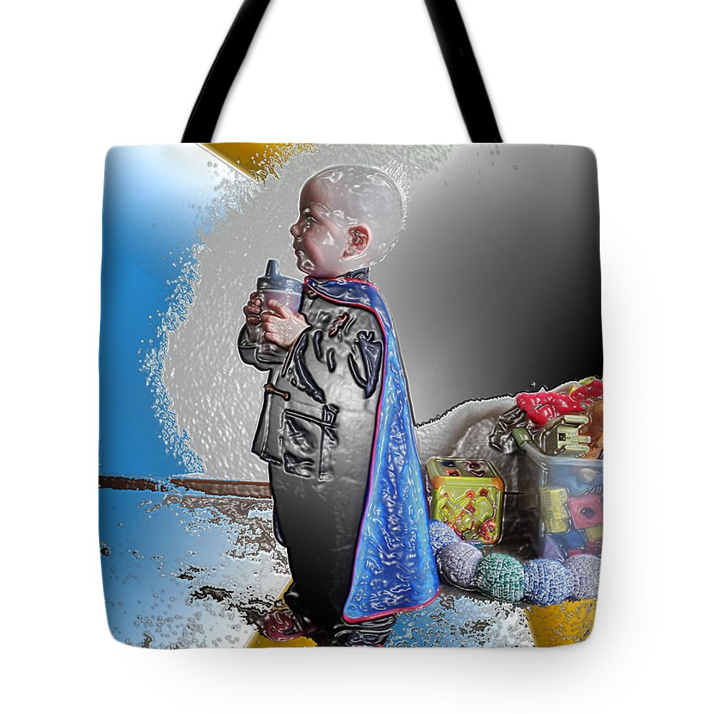 Portrait Of A Boy Tote Bag featuring the digital art Little Prince Ninja by Feile Case