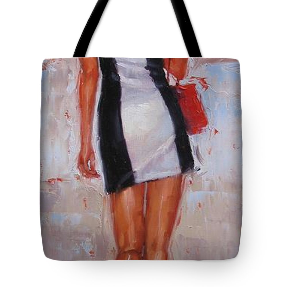 Laura Zanghetti Tote Bag featuring the painting Little Red Bag by Laura Lee Zanghetti