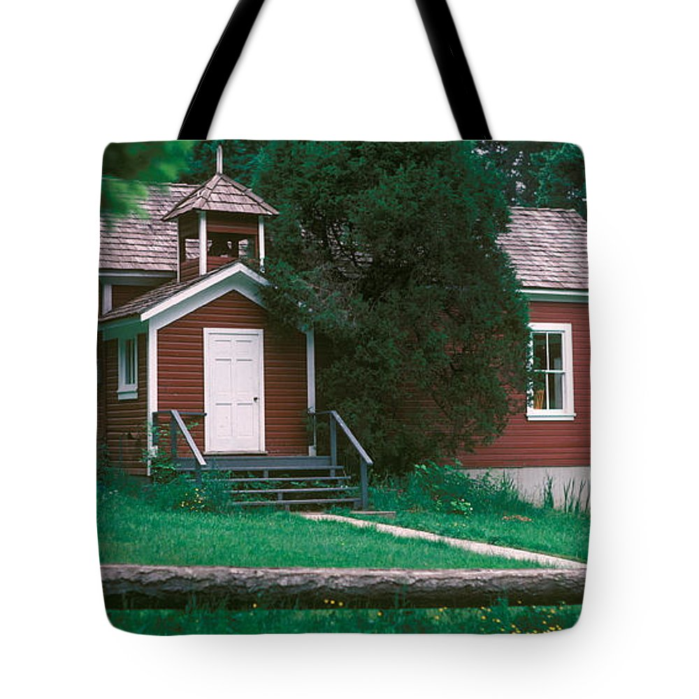 Red One Room Schoolhouse Tote Bag featuring the photograph Little Red Schoolhouse by Jim Cotton