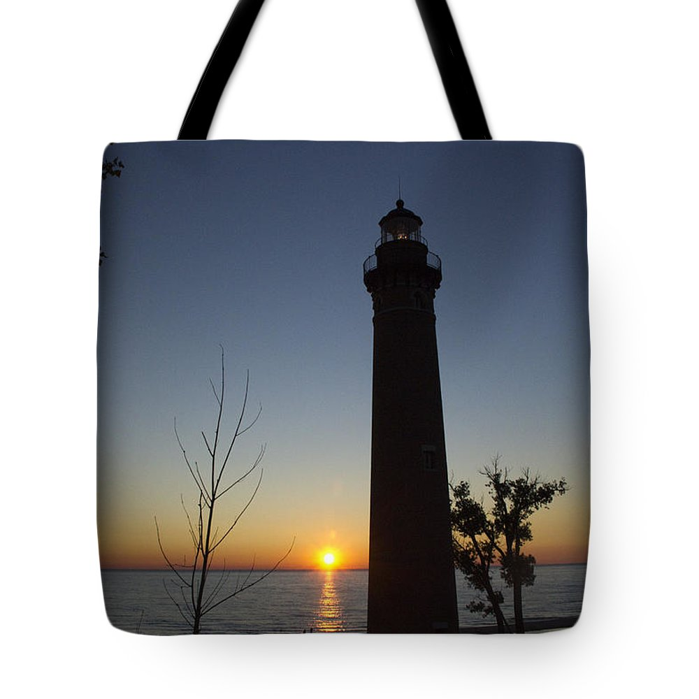 Art Tote Bag featuring the photograph Little Sable Lighthouse At Sunset by Randall Nyhof