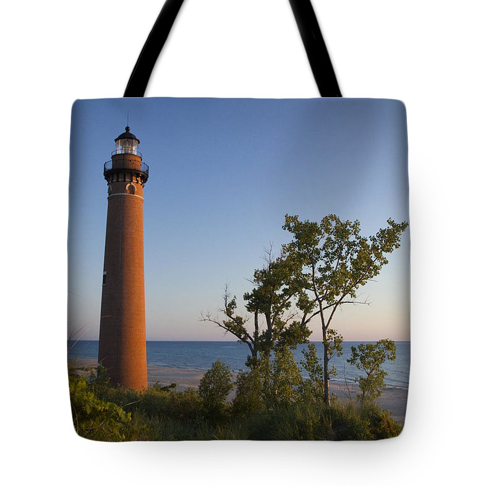 Art Tote Bag featuring the photograph Little Sable Lighthouse By The Shore by Randall Nyhof
