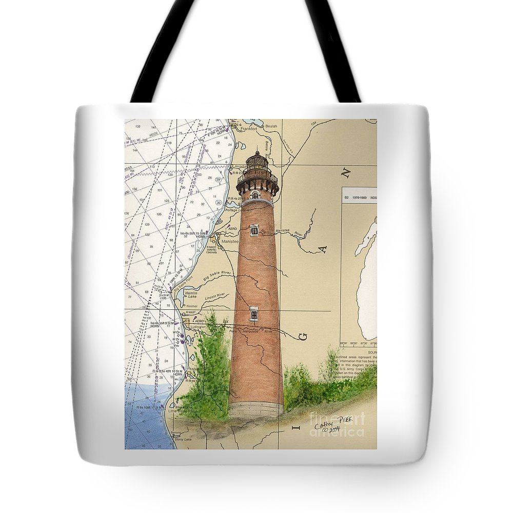 Little Tote Bag featuring the painting Little Sable Lighthouse Lake Mi Nautical Chart Map Art Cathy Peek by Cathy Peek