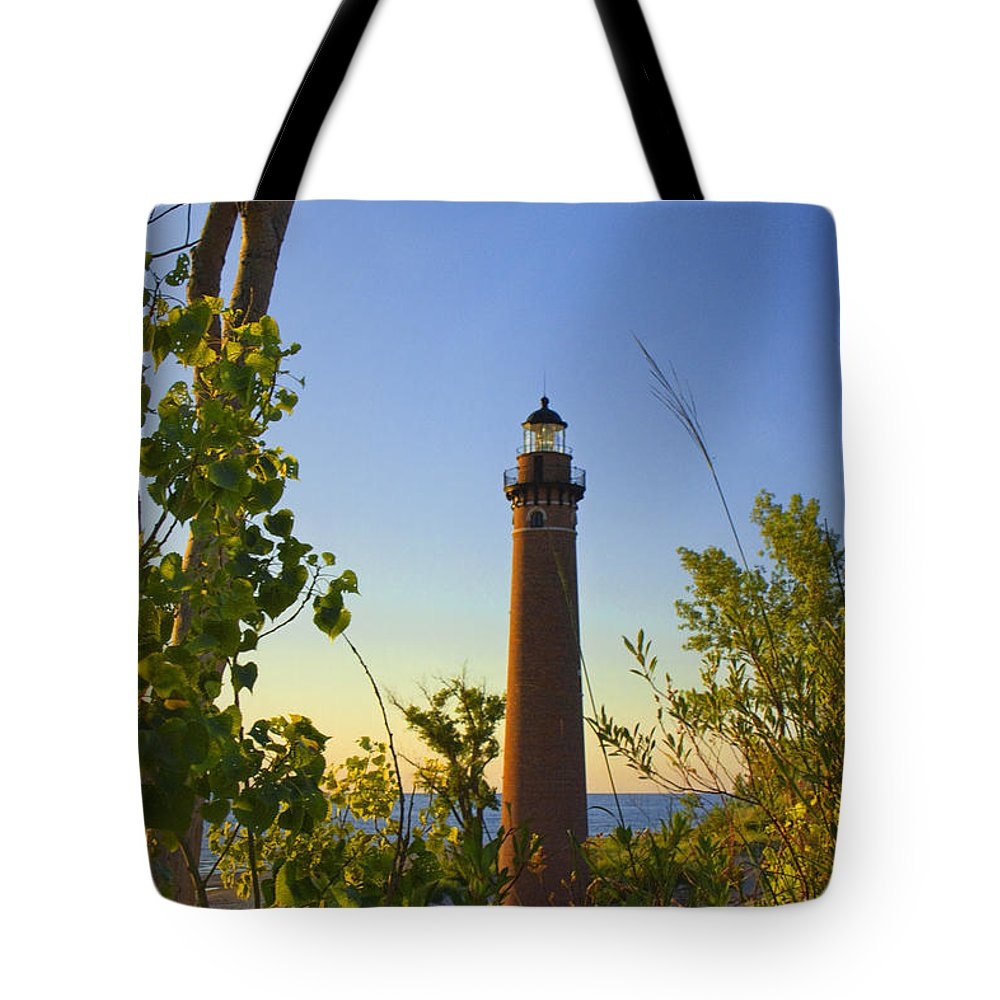 Art Tote Bag featuring the photograph Little Sable Lighthouse Seen Through The Trees by Randall Nyhof
