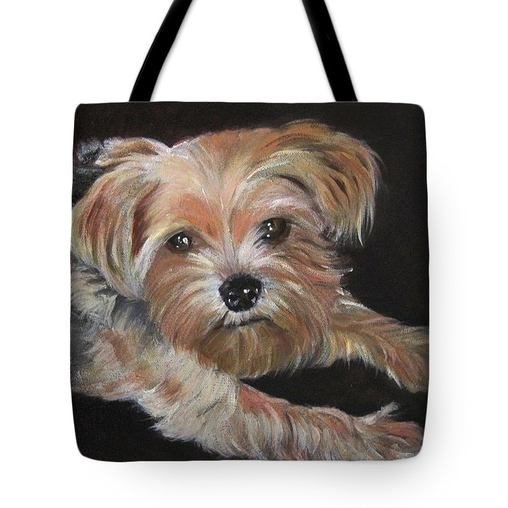 Puppy Tote Bag featuring the painting Little Susie by Shirley Lennon