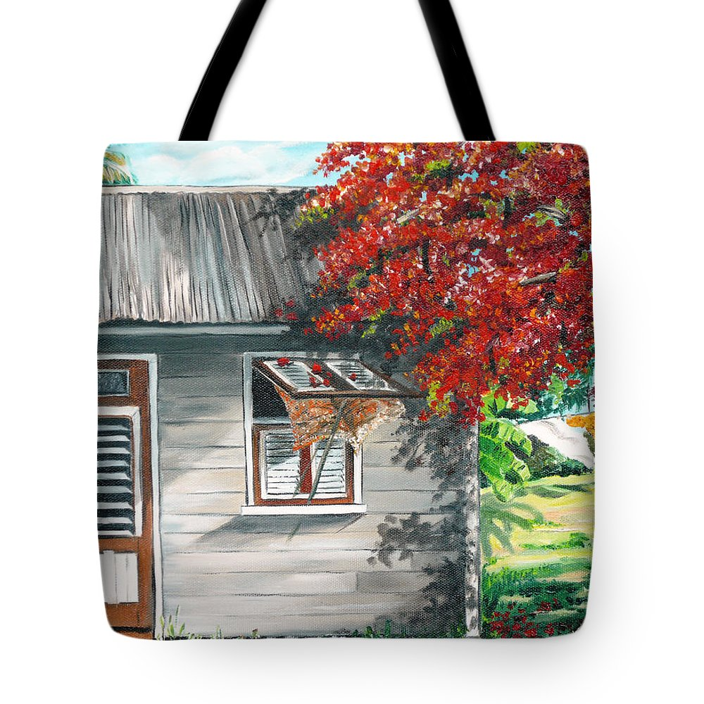 Caribbean Painting Typical Country House In The Caribbean Or West Indian Islands With Flamboyant Tree Tropical Painting Tote Bag featuring the painting Little West Indian House 1 by Karin Dawn Kelshall- Best