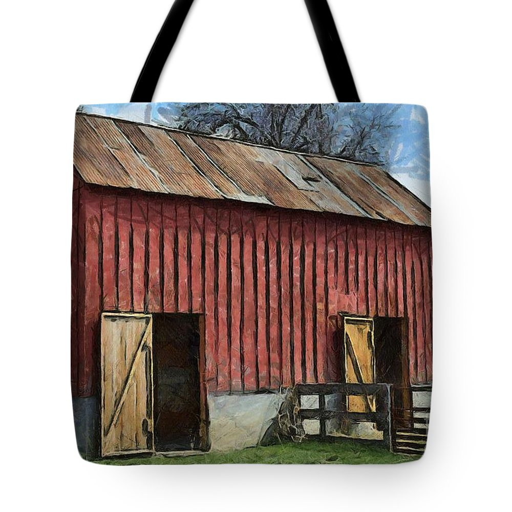 Livestock Barn Tote Bag featuring the photograph Livestock Barn by Liane Wright