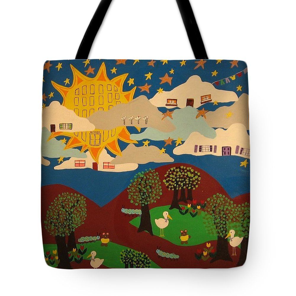 Clouds Tote Bag featuring the painting Living High by Erika Chamberlin