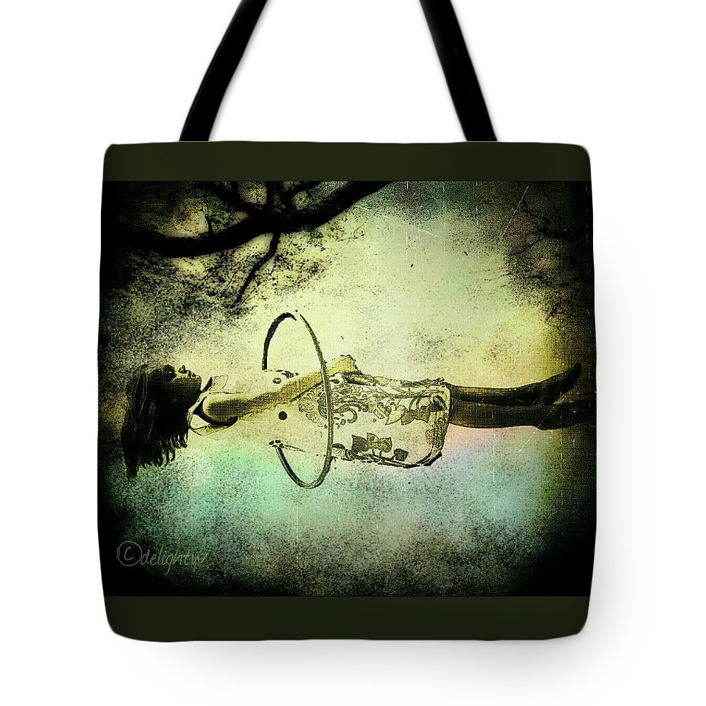 Girl Tote Bag featuring the digital art Living In The Fear by Delight Worthyn