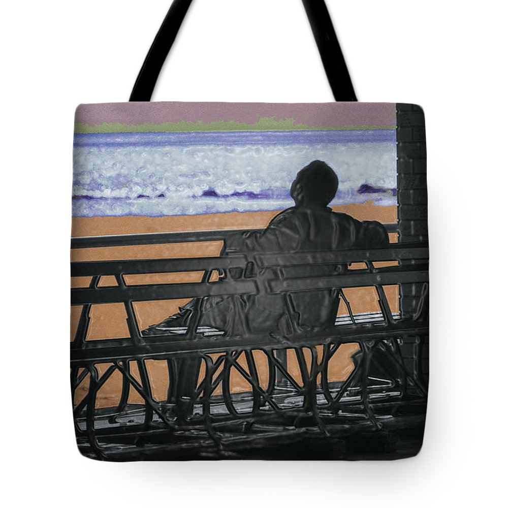 Man On Bench Tote Bag featuring the photograph Living Inside Myself by Jeff Breiman