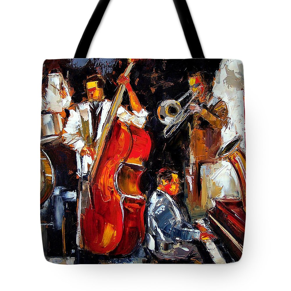 Jazz Tote Bag featuring the painting Living Jazz by Debra Hurd