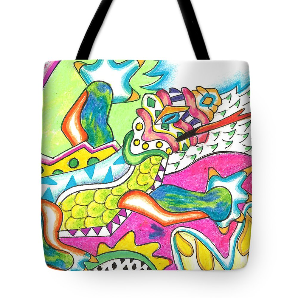 Lizard Tote Bag featuring the mixed media Ioli - Lizard by Michael Andrew Frain