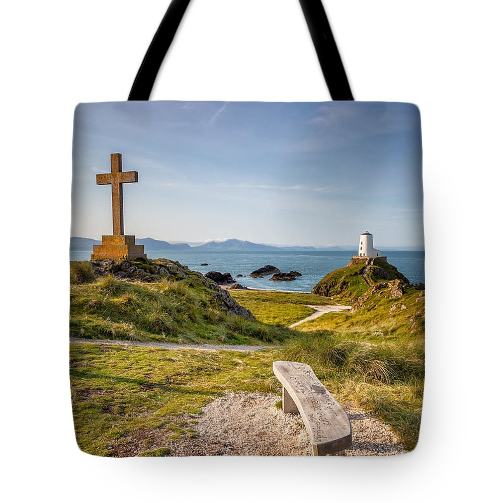 Anglesey Tote Bag featuring the photograph Llanddwyn Island Bench by Adrian Evans