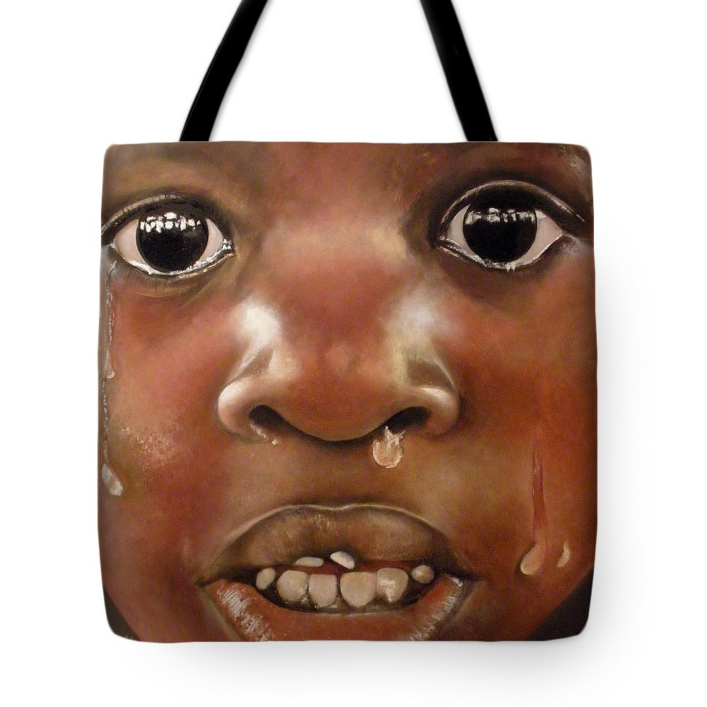 Boy Crying Tote Bag featuring the painting Llanto by Tomas Castano