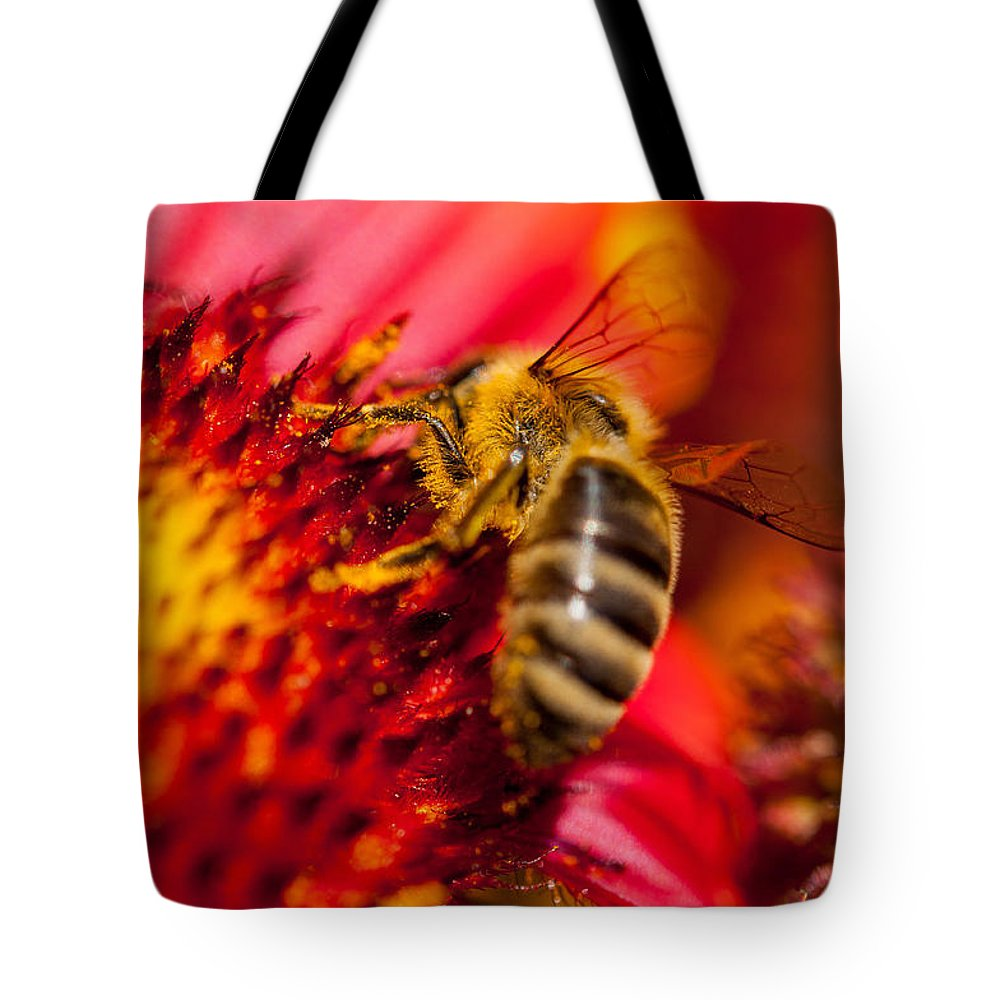 Summer Flower With Bee Tote Bag featuring the photograph Loads Of Bee Pollen by Sabine Edrissi