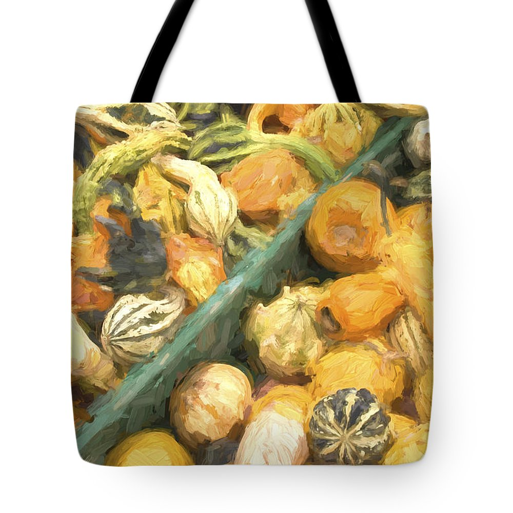 Farm Tote Bag featuring the photograph Local Glazed Gourds Painterly Effect by Carol Leigh