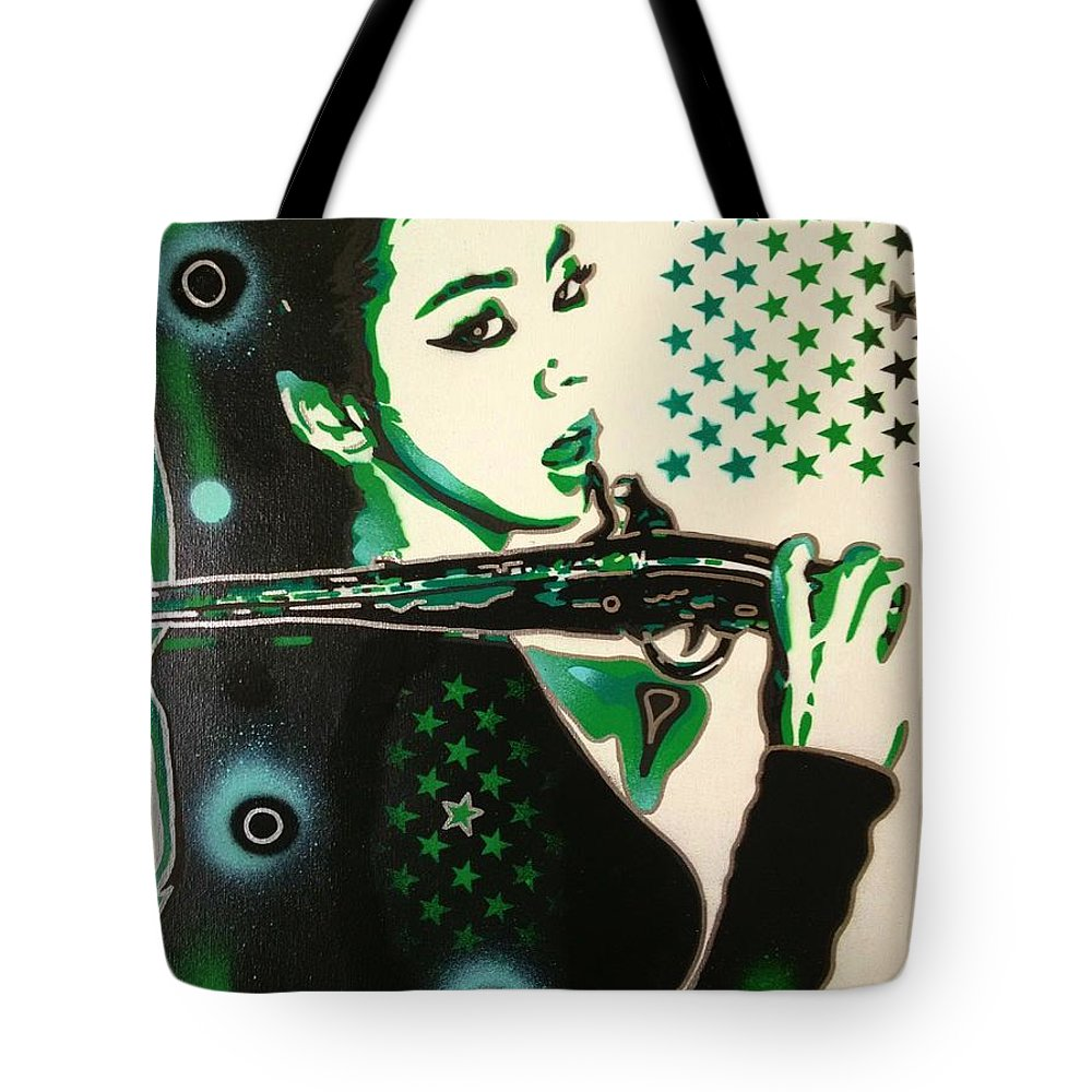 Green Tote Bag featuring the painting Lock Stock America by Leon Keay