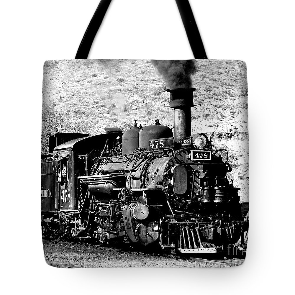 Locomotive Black And White Train Steam Engine Train Coal Burning Engine Tote Bag featuring the photograph Locomotive Black And White Train Steam Engine by Jerry Cowart
