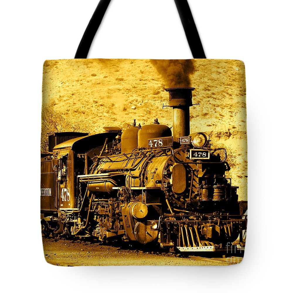 Locomotive Train Coal Burning Engine Tote Bag featuring the photograph Sepia Locomotive Coal Burning Train Engine  by Jerry Cowart