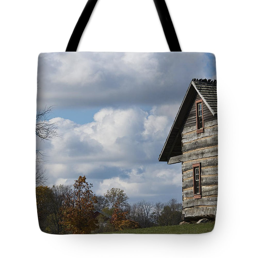 Log Cabin Tote Bag featuring the photograph Log Cabin And November Sky by David Arment