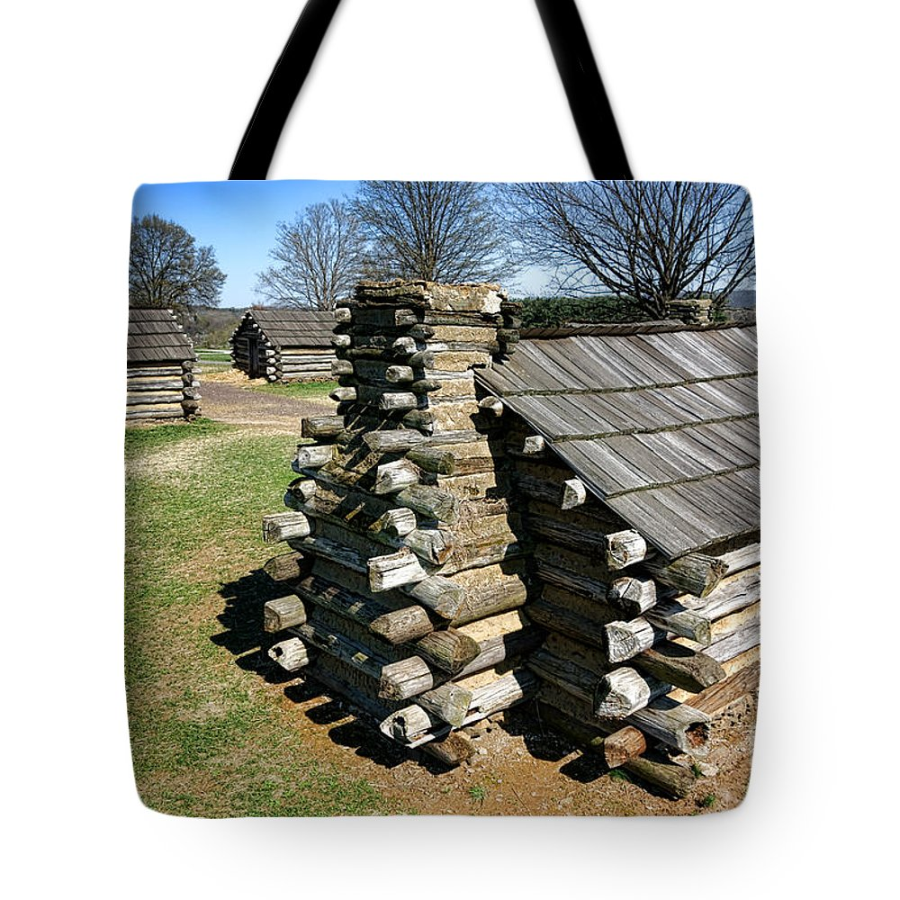 Valley Tote Bag featuring the photograph Log Cabins At Valley Forge by Olivier Le Queinec