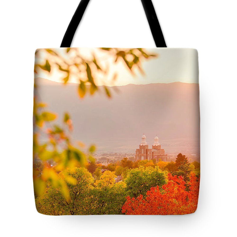 Logan Temple Tote Bag featuring the photograph Logan Temple by Emily Dickey