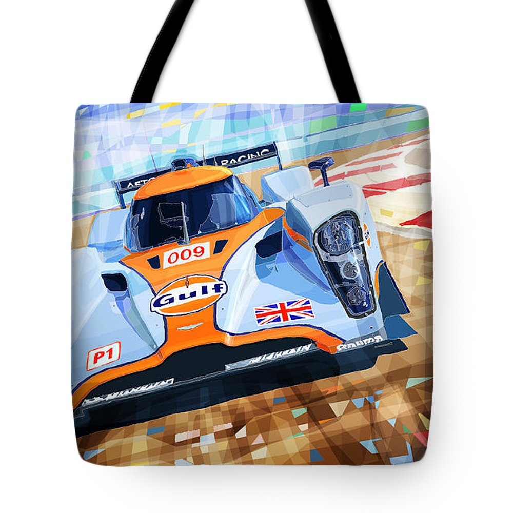 Automotive Tote Bag featuring the mixed media Lola Aston Martin Lmp1 Racing Le Mans Series 2009 by Yuriy Shevchuk