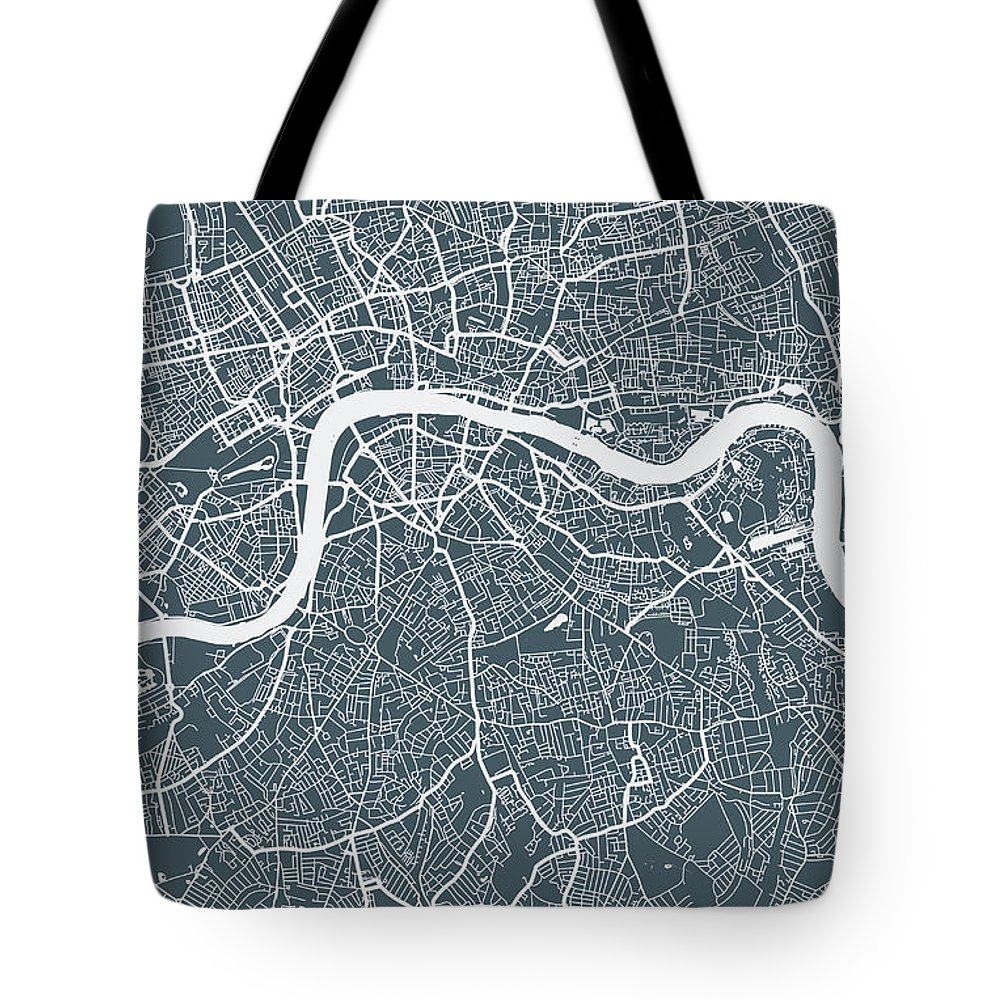 Art Tote Bag featuring the digital art London City Map by Mattjeacock
