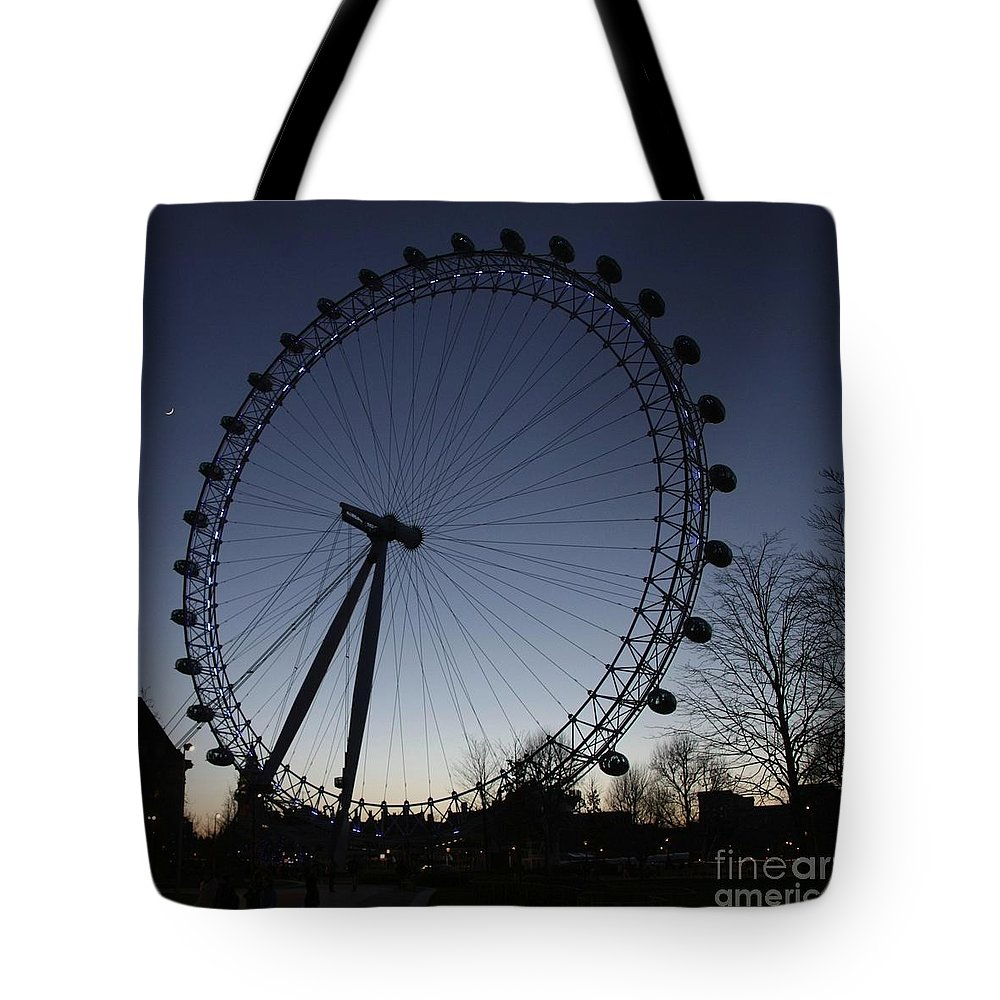 London Tote Bag featuring the photograph London Eye And New Moon by Jeremy Hayden